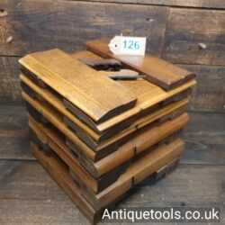 Lot 126Half set of 18 even sizes Griffiths of Norwich antique hollow and round beechwood moulding planes