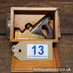 """Lot 13: Exquisite Vintage 3"""" Miniature Brass Dovetailed Smoothing Plane Stamped Norris of London"""