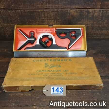 Lot 143 Vintage Chesterman No: 80 cast steel combination square, protractor and centre finder
