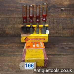 Unusual And Scarce Boxed Set Of FootPrint Brand Bevel Edge Chisels