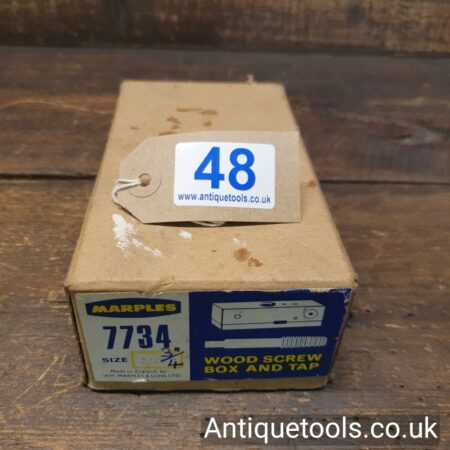 """Lot 48 - Vintage 3/4"""" W. Marples & Sons No: 7734 wood screw box and tap"""